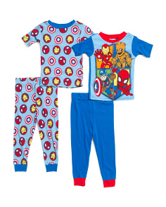 Toddler Boys 4pc Super Hero Cotton Sleep Set