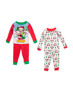 Toddler Boys Mickey Mouse Santa 4 Pc Sleep Set