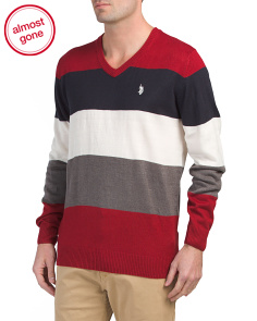 All Over Striped V-neck Sweater