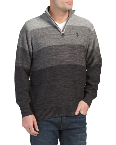 Reverse Jersey Mechanical Marled Quarter Zip Sweater