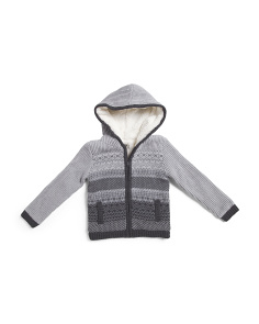 Little Boys Hooded Jacquard Cardigan Sweater
