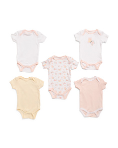 Baby Girls Butterfly 5pk Grow With Me Bodysuits
