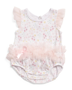 Baby Girls Floral Love Ruffle Creeper