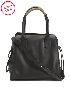 Sanaa Contrast Detail Leather Satchel