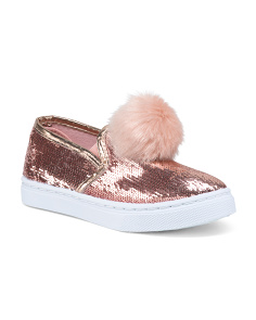 Girls Sequin Faux Fur Pom Pom Sneakers