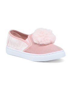 Girls Velvet Faux Fur Pom Pom Sneakers