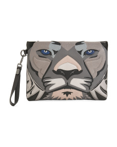 Makamba Lion Leather Wristlet