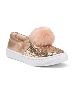 Girls Glitter Faux Fur Pom Pom Sneakers