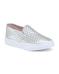 Girls Quilted Metallic Sneakers