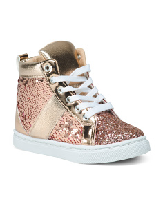 Girls Sequin High Top Sneakers