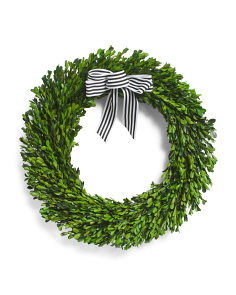 21in Boxwood Wreath With Ribbon