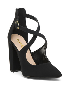 Crossover Strap Chunky Heels
