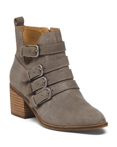 Suede 4 Buckle Ankle Booties