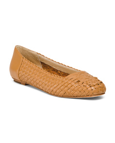 Leather Woven Ballet Flats