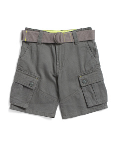 Little Boys Belted Twill Cargo Shorts