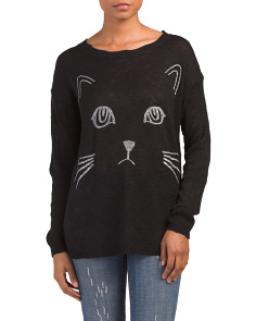 Juniors Cat Screen Sweater