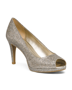 Metallic Peep Toe Pumps