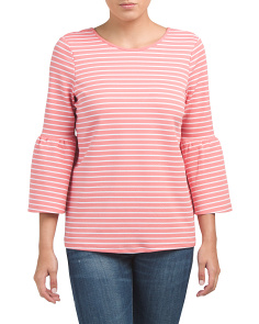 Striped Bell Sleeve Knit Top