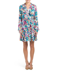 Floral Print Godet Dress