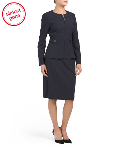Pinstripe Jacket & Skirt Suit Set