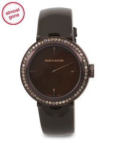 Women's Swiss Made Diamond Bezel Brown Leather 35mm Watch