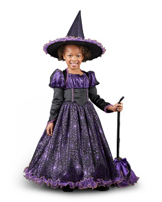 Toddler Kids Witch Costume With Hat & Broom