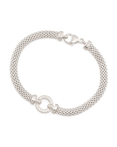 Made In Italy Sterling Silver Mesh Circle Cz Bracelet