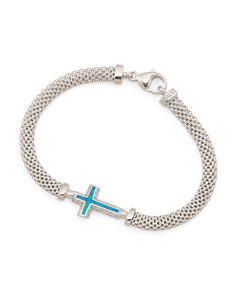 Made In Italy Sterling Silver Opal Cross Cubic Zirconia Mesh Bracelet