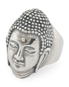 Men's Made In Italy Oxidized Sterling Silver Buddha Ring