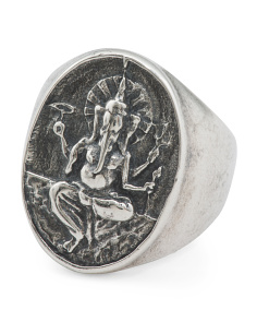 Men's Made In Italy Oxidized Sterling Silver Ganesh Ring