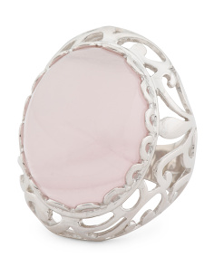 Made In Italy Sterling Silver Rose Quartz Lace Band Ring