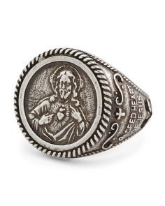 Men's Made In Italy Oxidized Silver Bronze Christ Ring