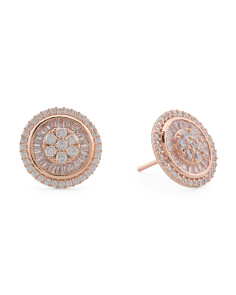 14k Rose Gold Sterling Silver Baguette Cz 12mm Earrings