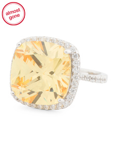 Sterling Silver Canary Cz Ring