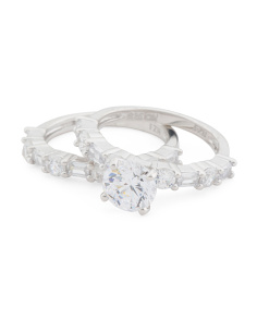 Sterling Silver Cz 2pc Bridal Ring Set