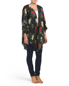Floral Ruana With Tie Waist