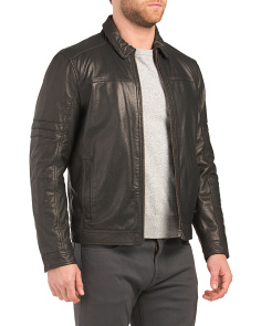 Laurel Shirt Collar Leather Jacket