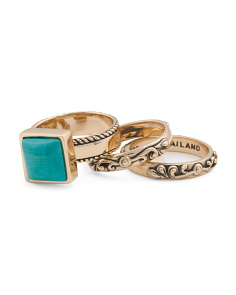 Made In Thailand Sea Bamboo And Bronze 3 Piece Stack Ring
