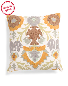 Made In India 20x20 Textured Floral Pillow