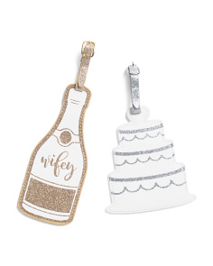 2pk Cake & Champagne Bottle Luggage Tags