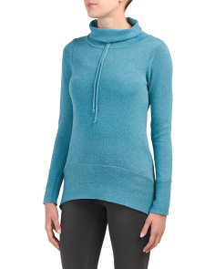 Round Hi-lo Hem Cowl Neck Sweater