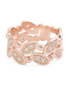 Made In Italy Rose Gold Plated Sterling Silver Cz Leaf Ring