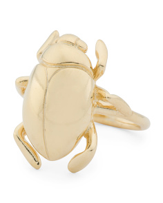 Made In Italy Gold Plated Sterling Silver Beetle Ring