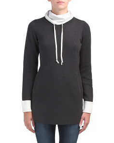Cowl Neck Sweater With Contrast Trim