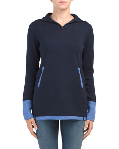 Mock Neck Pullover With Contrast Trim