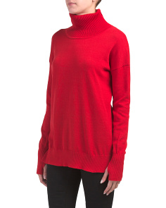 Ribbed Back Long Turtle Neck Sweater