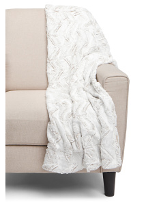 Frosted Chevron Faux Fur Throw