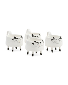 4pk Eyeglass Cat Mugs