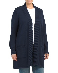 Plus Ottoman Ribbed Duster With Pockets