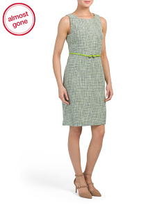 Belted Boucle Sheath Dress